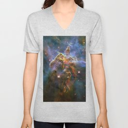 Mystic Mountain (a region in the Carina Nebula)(NASA/ESA Hubble Space Telescope) Unisex V-Neck