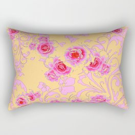 PINK-RED ROSE ABSTRACT FLORAL GARDEN ART Rectangular Pillow