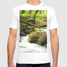 Forest Green White Mens Fitted Tee MEDIUM
