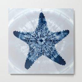 Starfish Mandala Indigo Blue Tie Dye Metal Print