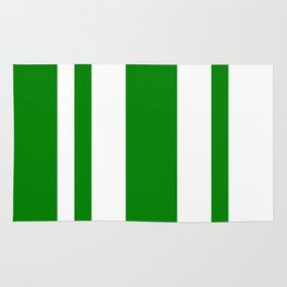 Mixed Vertical Stripes - White and Green Rug