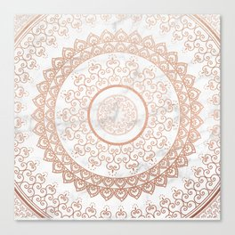 Mandala - rose gold and white marble Canvas Print