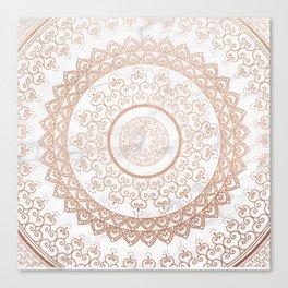 Mandala - rose gold and white marble Canvas Print