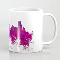 minneapolis Mugs featuring Minneapolis skyline purple by jbjart