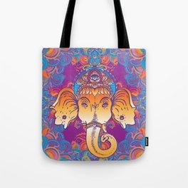 Hindu Lord Ganesha over ornate colorful mandala.  Tote Bag