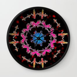 Alien Gemstone Mandala With Red Plasma Wall Clock