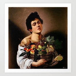 BOY WITH A BASKET OF FRUIT - CARAVAGGIO Art Print