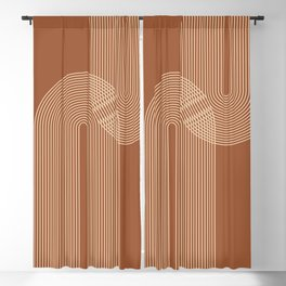 Geometric Lines in Terracotta and Beige 53 (Rainbow Abstraction) Blackout Curtain