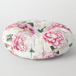 Vintage & Shabby Chic - Pink Chinoserie Flower Pattern Floor Pillow