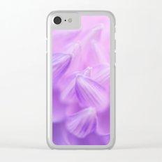 Pearl Petal Kiss   pink flower, pastel flowers, purple floral pattern, lilac dahlia petals Clear iPhone Case