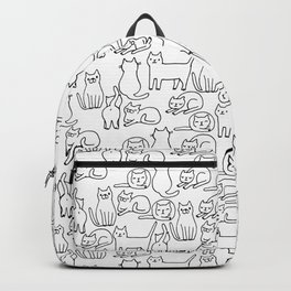 Funny sketchy white kitty cats Backpack