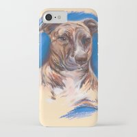 pit bull iPhone & iPod Cases featuring Brindle Pit Bull Portrait by M.M. Anderson Designs