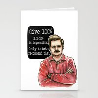 ron swanson Stationery Cards featuring Ron Swanson by Tiffany Willis