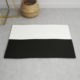 Abstract Black and White Horizon Color Block Rug
