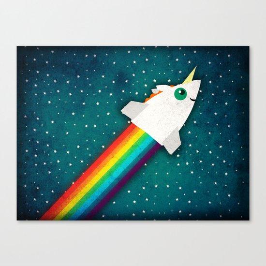 Unicorn Rainbow Rocket Canvas Print