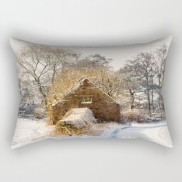 Barn and snow Rectangular Pillow