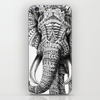 white iPhone & iPod Skins featuring Ornate Elephant by BIOWORKZ