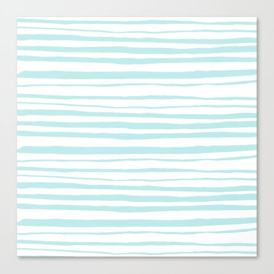 Handmade aqua turquoise Stripes on white - Maritime pattern Canvas Print