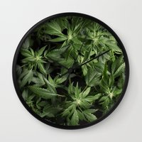 weed Wall Clocks featuring Weed by Vyacheslav Sizov