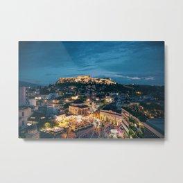 Athens Greece at Dusk Metal Print