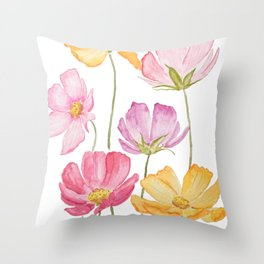 colorful cosmos flower Throw Pillow