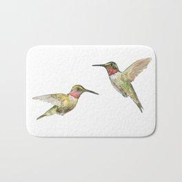 Ruby Throated Hummingbird Watercolor Bath Mat