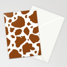 cocoa milk chocolate brown and white cow spots animal print Stationery Cards