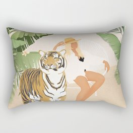 The Lady and the Tiger Rectangular Pillow