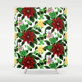 Poinsettia v2 pattern Shower Curtain