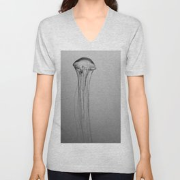 Black and White Jellyfish Art Photography, Drifting Through Time and Space Unisex V-Neck