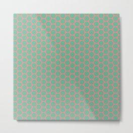 Minty Salmon Pink Background Green Circles Metal Print
