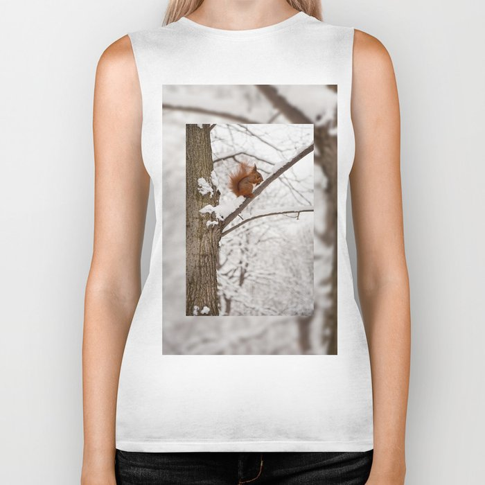Squirrel sitting on twig in snow Biker Tank
