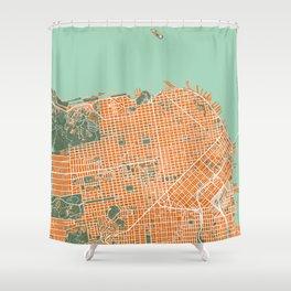 San Francisco city map orange Shower Curtain