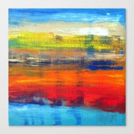Horizon Blue Orange Red Abstract Art Canvas Print