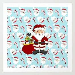 Santa and Candy Canes Art Print