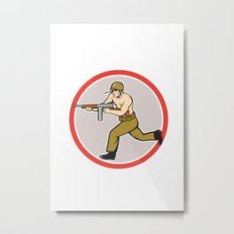 World War Two Soldier American Tommy Gun Metal Print