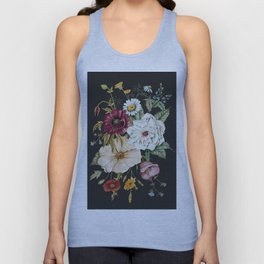 Colorful Wildflower Bouquet on Charcoal Black Unisex Tank Top