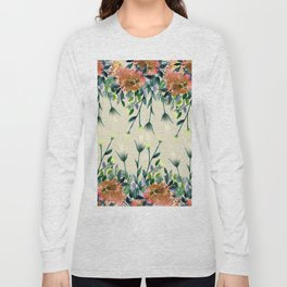 Hand painted modern ivory orange brown watercolor floral Long Sleeve T-shirt