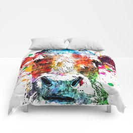 Cow Watercolor Grunge Comforters