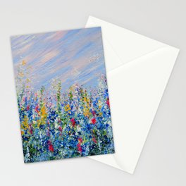 Blue Bells and Cockle Shells, Blue Floral Landscape Stationery Cards