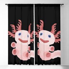 Cute Axolotl on Black Background Blackout Curtain