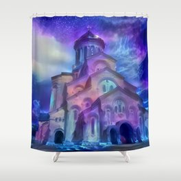 Violet Sky Cathedral of Tbilisi Shower Curtain