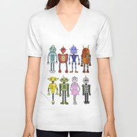 robots V-neck T-shirts featuring Robots by Annabelle Scott