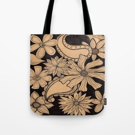 Black Floral Tote Bag