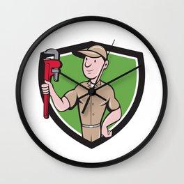 Handyman Monkey Wrench Crest Cartoon Wall Clock
