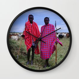 Two Maasai Teens Tending to Cattle in Africa Wall Clock