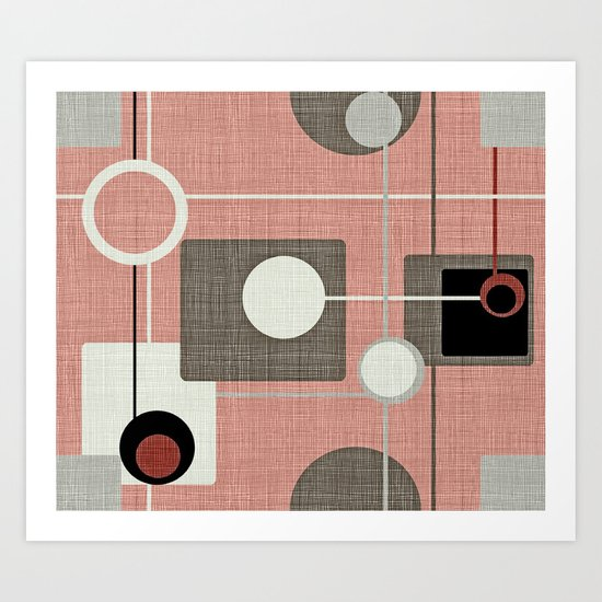 Orbs & Squares Pink Art Print