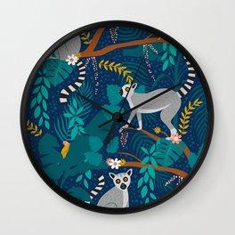 Lemurs on Blue Wall Clock