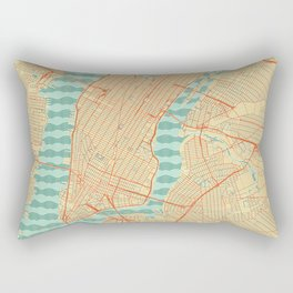 New York Map Retro Rectangular Pillow