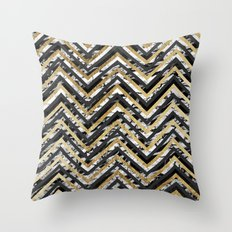 Black and White Marble and Gold Chevron Zigzag Throw Pillow